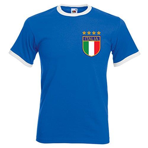 Print Me A Shirt Camiseta de fútbol Retro para Hombre Adulto Roberto Baggio Italia, Azul Real/Blanco