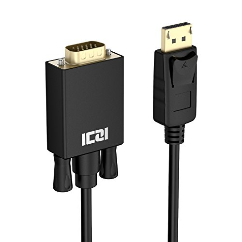 ICZI DisplayPort auf VGA Kabel 3 m, 1080P@60Hz DP zu VGA Verbindungskabel mit Vergoldet Stecker für der Monitoren mit 15-Pin-VGA-Anschluss, Schwarz