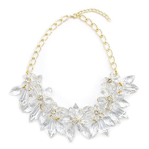 XXL Luxus Statement Hals-Kette Collier Kristall Stachel Blumen Modeschmuck Schmuck Statementkette