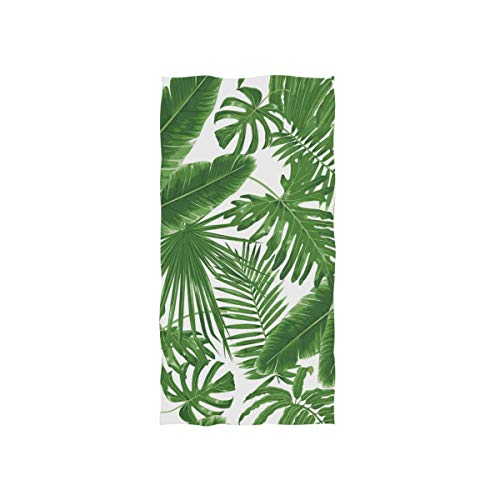 linomo Toalla de mano tropical hojas de palma verde toalla toalla de cara toalla de algodón toalla para niños niñas niños adultos