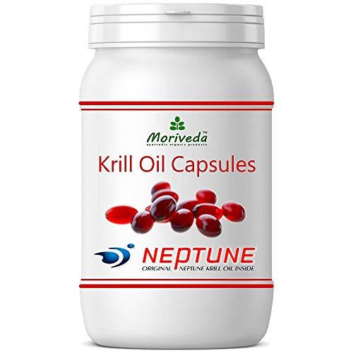 MoriVeda® - Krillöl Kapseln 90 oder 270, 100% reines NEPTUNE Premium Krill Öl - Omega 3,6,9 Astaxanthin, Phospholipide, Choline, Vitamin-E - Markenqualität (1x90 Softgels)