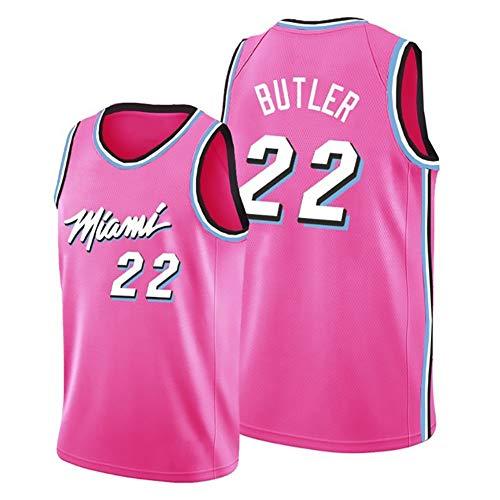 Heat No. 22 Butler - Camiseta de baloncesto para hombre, edición de ventilador, sin mangas, camiseta de verano, con bordado en la parte superior, color rosa