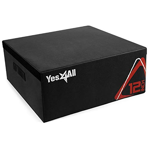 Yes4All Soft Plyo Box/Plyometric Jump Box – Adjustable Plyo Box/Foam Plyo Box for Jump Training, Fitness and Conditioning (12 inch, Black)