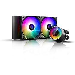 DEEP COOL Castle 240 RGB V2, Sistema di Raffreddamento a Liquido, Radiatore da 240 mm, Due Ventole PWM da 120 mm, l'Illuminazione RGB, Compatibile con Socket Intel e AMD,5V 3pin, Supporta AMD TR4/AM4