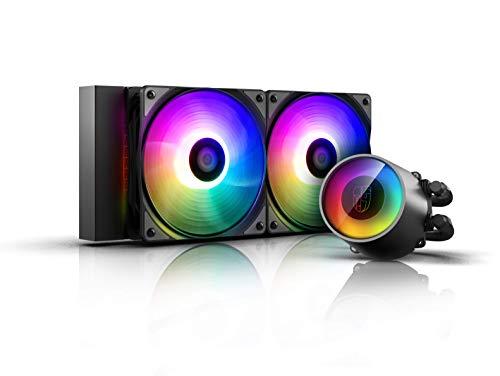DEEP COOL Castle 240 RGB V2, CPU Refrigeración Líquida con Techología Anti-Fugas,Bomba y 2 Ventiladores de Add-RGB, Controlado por Controlador o Placa Base, Garantía de 3 Años