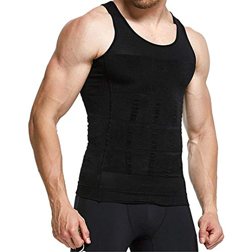 Tofox Camisa de compresión Slim para Hombres, Faja Chaleco Hombre Adelgazante Reductora Compresion Elástica de Ropa Interior