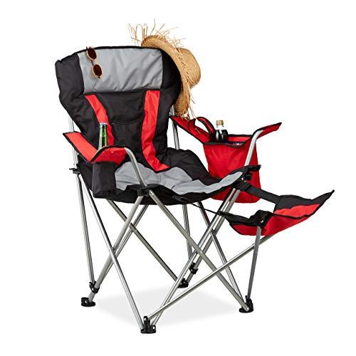 Relaxdays Campingstuhl mit Fußablage, klappbarer Angelstuhl mit Getränkehalter & Kühltasche, bis 150 kg, schwarz-rot