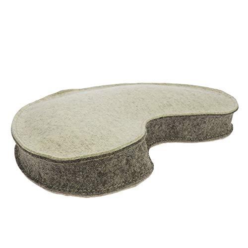 ebos Yogakissen aus 100% Merino-Wollfilz mit Bio-Dinkelspelz-Füllung in Hörnchenform, Halbmond, Sitzhöhe 8 cm, ca. 40x20 cm, handgearbeitet Made in Germany (beige/Hellbraun)