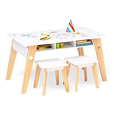 Wildkin Kids Arts and Crafts Table Set for Boys and Girls, Mid Century Modern Design Craft Table Includes Two Stools, Paper and Storage Cubbies Underneath Helps Keep Art Supplies Organized (White) from Wildkin Toys