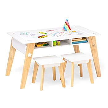 Wildkin Kids Arts and Crafts Table Set for Boys and Girls Mid Century Modern Design Craft Table Includes Two Stools Paper and Storage Cubbies Underneath Helps Keep Art Supplies Organized  White
