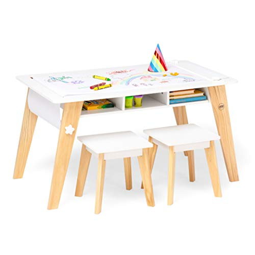 Wildkin Kids Arts and Crafts Table Set for Boys and Girls, Mid Century Modern Design Craft Table Includes Two Stools, Paper and Storage Cubbies Underneath Helps Keep Art Supplies Organized (White)