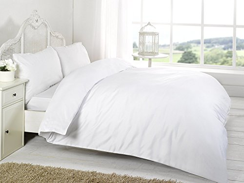Queens Land Home 100% Egyptian Cotton 200 Thread Hotel Quality Duvet set Available in Single Double, King & Super king. (White, Double)