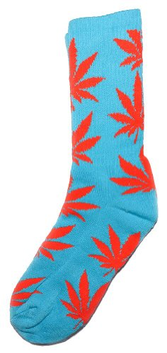 HUF Plantlife Crew Sock, Teal/Orange, One Size
