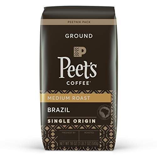 Peet's Coffee Single Origin Brazil, Medium Roast Ground Coffee, 18 Ounce