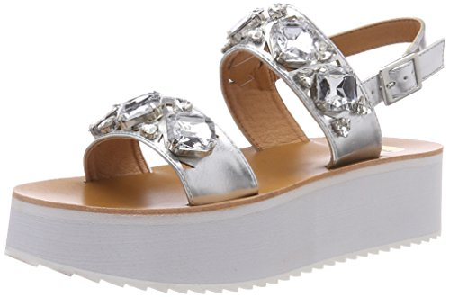 Buffalo 317177 Xy1042 16#, Sandales Bride Cheville Femme, Argent (Silver), 41 EU