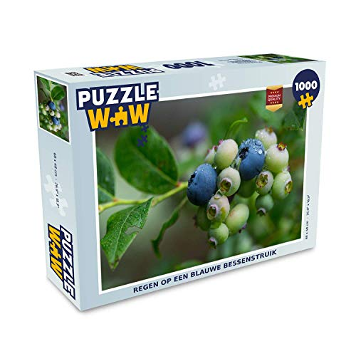 Puzzel 1000 stukjes volwassenen Blauwe bessenstruik 1000 stukjes - Regen op een blauwe bessenstruik puzzel 1000 stukjes - PuzzleWow heeft +100000 puzzels - legpuzzel voor volwassenen - Jigsaw puzzel 68x48 cm