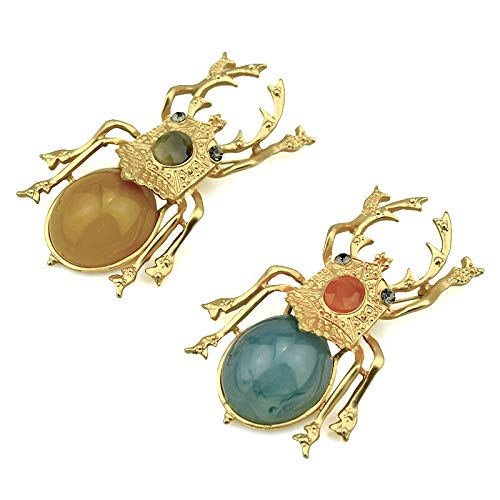 Broches de escarabajo de estiércol para mujer, accesorios, alfileres de Metal dorado, broche de escarabajo de insectos, broches grandes de resina, moda-oro A