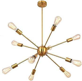 Edislive 10 Light Modern Mid Century Sputnik Chandelier