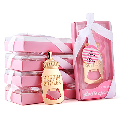 Baby Bottle Opener Wedding Favors for Guests Bottle Opener Baby Shower Return Gifts for Guest Supplies With Exquisite Gift Box Packaging By Lamoutor 12PCS Pink