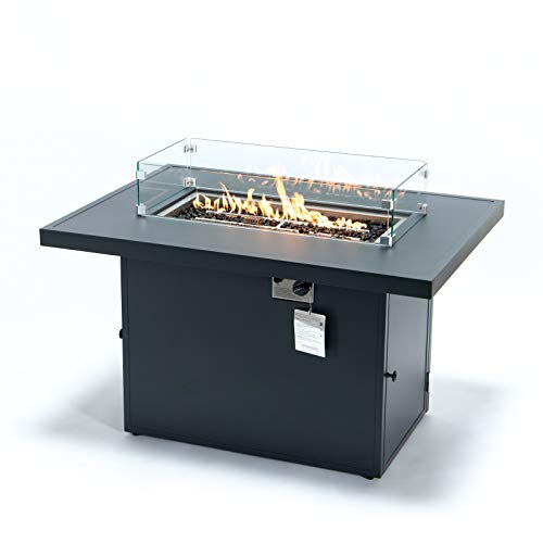 LeisureMod Chelsea Propane Fire Pit 44 Inch 55,000 BTU Auto-Ignition Gas Fire Pit Table with lid, Wind Guard and Decorative Stones Aluminum Frame