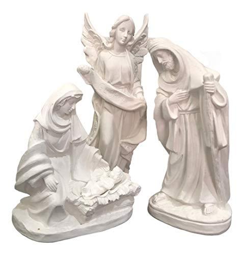 Presépio 4 Peças Maria José Menino Jesus E Anjo Glória 30 Cm