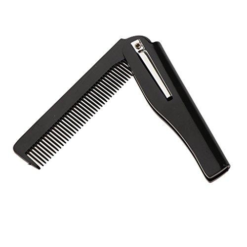 Gazechimp Für Herren Männer Bartkamm – antistatischer Kamm klappbar faltbar für einen natürlich gepflegten Bart, Taschenkamm - Schwarz