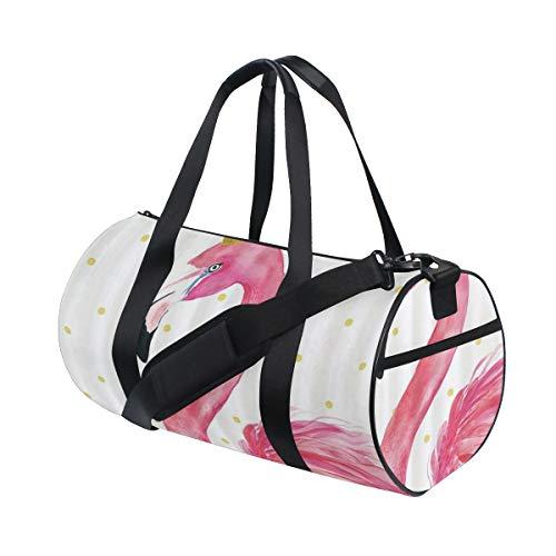 HARXISE Corona con animal flamenco rosado,Bolsa de equipaje de viaje Deporte Lienzo ligero Equipaje de fitness Bolso de tambor Desmontable