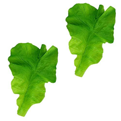 NUOBESTY 2Pcs Hojas de Lechuga Verde Artificial Hojas de Lechuga Realistas de Plástico para La Decoración de La Cocina Casera