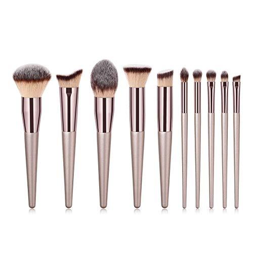 JFFFFWI Kit de Pinceau de Maquillage Professionnel, pour Fard à paupières Fluide cosmétique, Fard à Joues, Poudre 10 pièces Ensemble de pinceaux de Maquillage