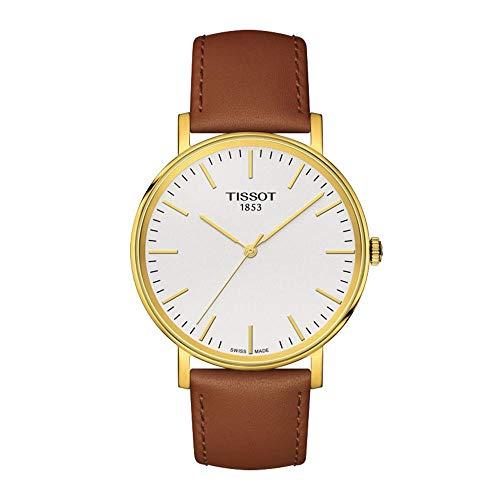 Tissot Herren Analog Quarz Everytime Medium Armbanduhr mit Leder Armband T1094103603100