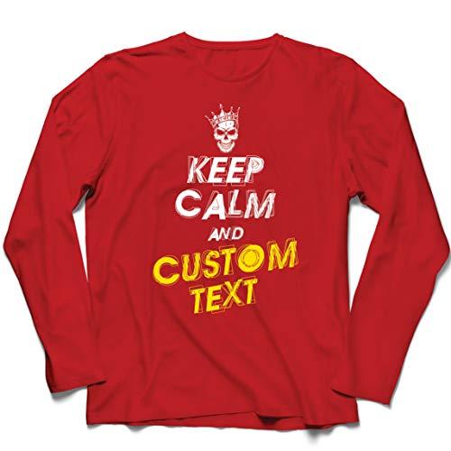lepni.me Camiseta de Manga Larga para Hombre Diseño Texto Personalizado Keep Calm Diseña Propio Regalo Novedad (XX-Large Rojo Multicolor)