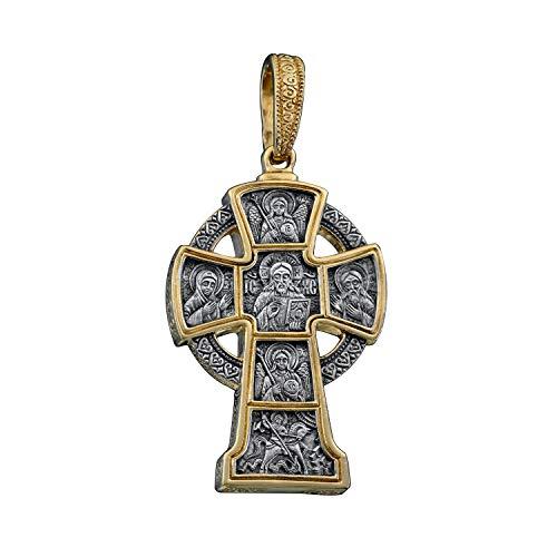Colgante Cruz Cristiana, plata 925, chapado en oro. Santo Gran Mártir Jorge el Victorioso. Regalo religioso para hombres y mujeres.
