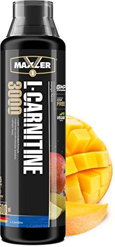 Maxler Veganes L-Carnitine 3000 Liquid - Hochdosiertes L Carnitin in flüssiger Form - reich an Geschmack - optimal dosiert - 3000mg L-Carnitin pro Portion - Mango - 500ml
