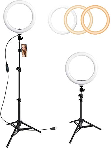 """GIM 10"""" Selfie Ring Light with Tripod Stand & Cell Phone Holder, 3000-6000K LED Ring Light Kit for Live Stream/Makeup/YouTube Video/Photography Compatible iPhone Android…"""