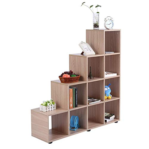 N/A Estantería de madera para libros con divisor, estante de almacenamiento, estante con rejilla separador de habitación, estante para oficina, hogar, estudio, roble, moderno 114 x 30 x 116 cm, A