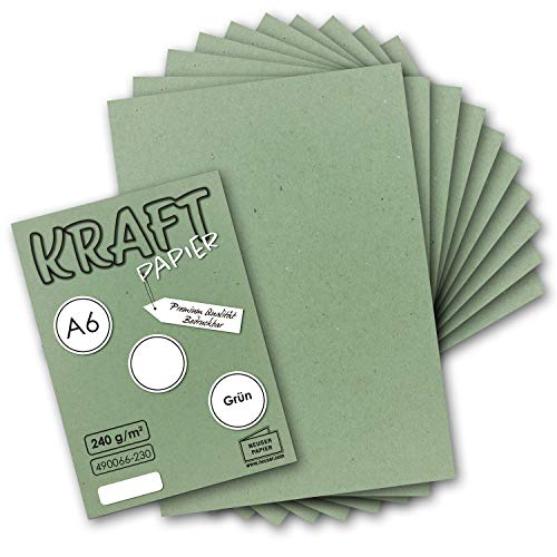 50x Kraftpapier grün Bastel- Bogen A6-105 x 148mm - Bastelpapier, Tonpapier, Buntpapier, Fotokarton, Postkarten aus Natur-Karton - 240 g/m²