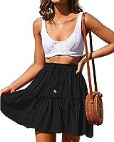 """N/A"" Floral High Waist A-line Ruffle Pleated Mini Short Skirt for Women (Black, Medium)"