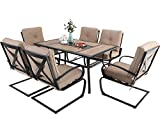 """MFSTUDIO 7PCS Outdoor Patio Dining Table Set, 6 Spring Motion Chairs, 1 Rectangular Table Woodlike Top with 1.57"""" Umbrella Hole, Lawn Backyard Garden Furniture Sets, Beige"""