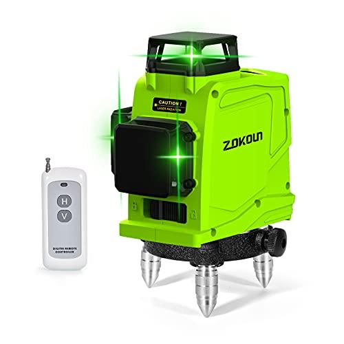 Zokoun 3D Deutsches Markenmodul Green Line Laser Level 5200mAh Akku mit USB wiederaufladbar, Fernbedienung Horizontal & Vertikal Messwerkzeug (GF120)