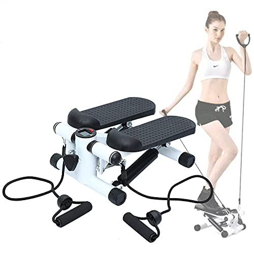 Nisorpa Mini Stepper LCD Monitor Fitness Stair Stepper with Resistance Bands Non-Slip Wide Pedals Mini Stair Climber for Home
