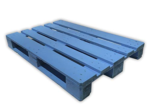 Dydaya 4 Palets Europeos Azul de 120x80 de Madera Lijados y Pintados de Azul para Mobiliario & Decorativos (Azul, 4)