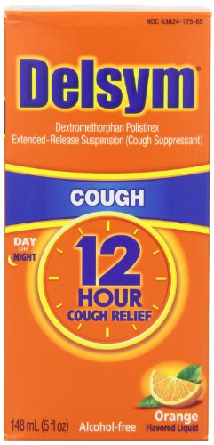 Delsym Adult 12 Hr Cough Relief Liquid, Orange, 15oz (3X5oz)