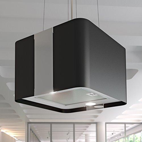 BIELMEIER Dunstabzugshaube Inselhaube VILLA Edelstahl schwarz lackiert 45 x 45 cm max. 600 m³/h Umluft Fernbedienung EEK: A