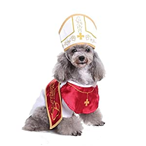 Glamour Girlz Funny Chien Chat Blanc Rouge Prêtre Pape Clergé Blanc Sainte Église Robe Costume Chapeau Halloween
