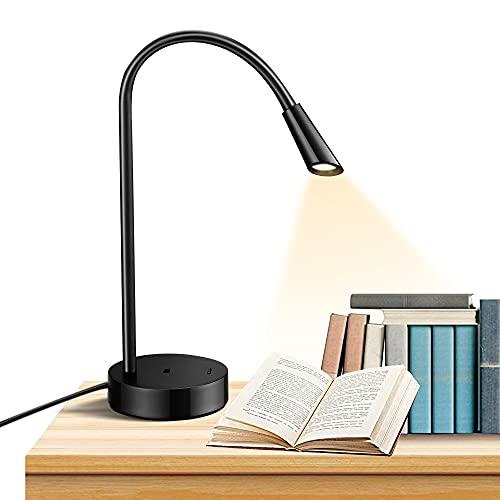 lámpara de escritorio LED, cuello flexible ligero en silicona, lámpara para leer con puerta de recarga USB para estudiar, para la mesa y la habitación matrimonial, 180LM/3000K/3W/100-240V
