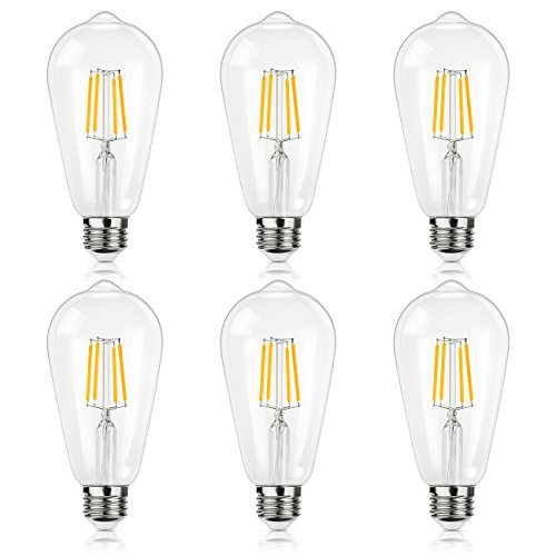 Antique LED Bulb, SHINE HAI 4W (40W Equivalent) ST64 Vintage Edison Light Bulb LED Lighting, 470 Lumen Warm White 2700K E26 Base, Pack of 6