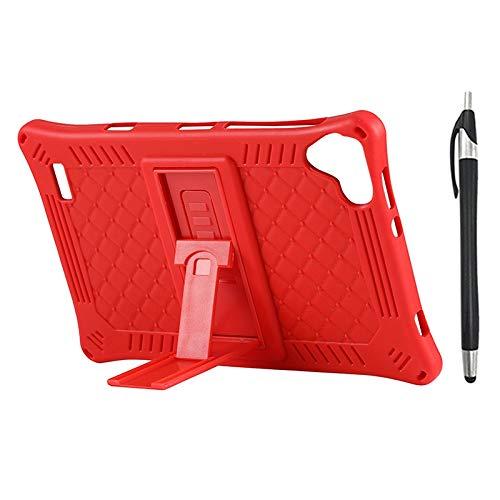 Lopbinte Funda para Tableta para Teclast P80 P80X P80H Funda de Silicona AnticaíDa de Tableta de 8 Pulgadas Soporte de Tableta con LáPiz Capacitivo (Rojo)