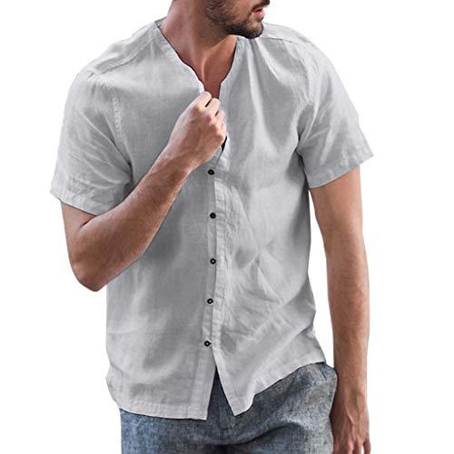 Yowablo T-Shirts Hommes Baggy Coton Lin Solide Bouton Manches Courtes Rétro Tops Blouse (3XL,Gris Foncé)