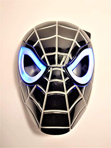 Premium Black Spiderman Mask / Venom Mask with LED Eyes That Light Up! (Batteries Included)