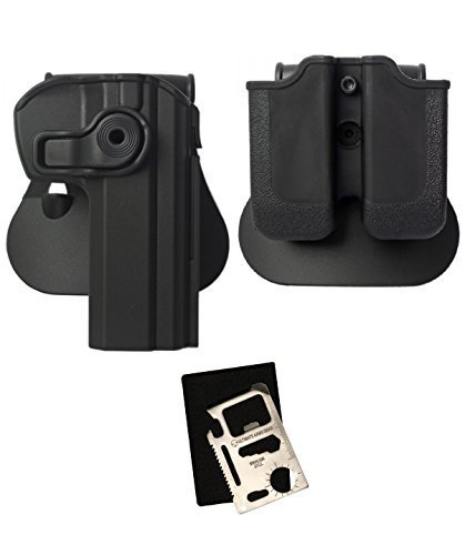IMI Defense Z1340 360° Rotate Holster CZ 75 SP-01 Shadow, SP01 Tactical, CZ75/CZ75D Compact Right Hand, Black + Z2030 MP03 Double Mag Pouch + Ultimate Arms Gear Multi Tool by Ultimate Arms Gear